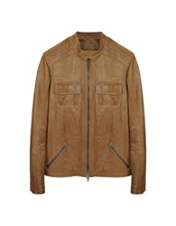 Forzieri Light Brown Leather Motorcycle Jacket