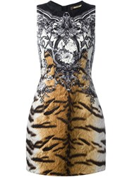 Roberto Cavalli Tiger And Floral Print Dress Nude And Neutrals