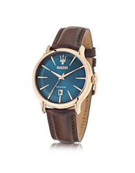 Maserati Epoca Blue Dial And Brown Leather Strap Men's Watch