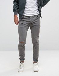Only And Sons Jeans Skinny With Rips In Dark Grey Grey