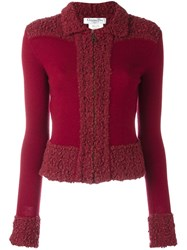 Christian Dior Vintage Boucle Trim Knitted Jacket Pink Purple