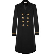 Saint Laurent Slim Fit Double Breasted Wool Blend Coat Black