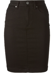 Burberry Brit High Waisted Denim Skirt Black