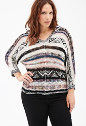 Forever 21 Hooded Open Knit Striped Sweater