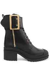 Burberry Buckled Glossed Leather Boots Black