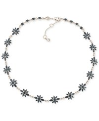 Carolee Silver Tone Blue And Clear Crystal Flower Collar Necklace