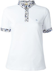 Fay Contrast Collar Polo Shirt White