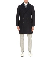 Brunello Cucinelli Double Breasted Checked Wool And Cashmere Coat Navy