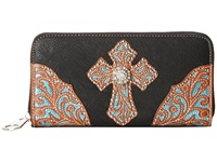 Mandf Western Glitter Cross Wallet Black Wallet Handbags