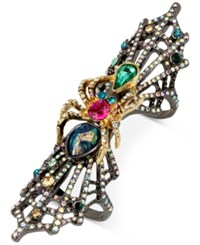 Betsey Johnson Two Tone Crystal Spider And Web Double Ring Multi