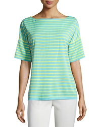 Misook Striped Dolman Short Sleeve Sweater Robin Yellow