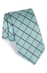 Men's Calibrate 'Texture Grid' Silk Tie Mint