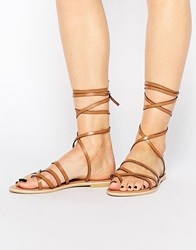 Park Lane Ankle Tie Leather Flat Sandals Tan