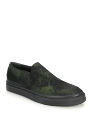 Alexander Mcqueen Graphic Leather And Silk Slip On Sneakers Green Black