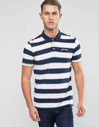 Jack And Jones Bold Striped Polo With Logo White