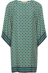 Michael Kors Collection Printed Silk Twill Mini Dress Green