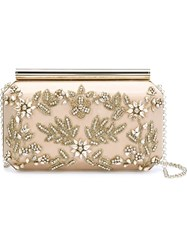 Oscar De La Renta Crystal Embellished Clutch Nude And Neutrals