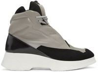 Julius Taupe And Black Leather High Top Sneakers