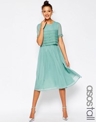 Asos Tall Salon Layer Lace Crop Top Midi Prom Dress Green