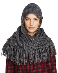 Free People Hooded Cable Knit Fringe Scarf Graphite