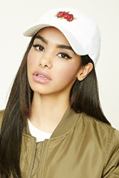 Forever 21 Floral Patch Baseball Cap White Red