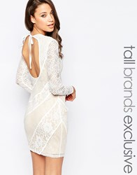 True Decadence Tall Premium Lace Pencil Dress With Open Back White
