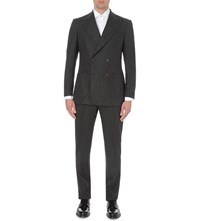Richard James Pinstriped Brushed Flannel Wool Suit Dk Grey