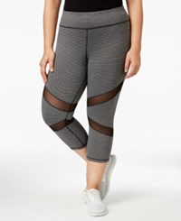 Ideology Plus Size Striped Cropped Leggings Only At Macy's Charcoal Melange