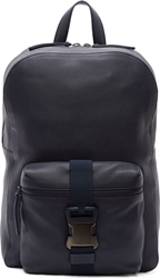 Christopher Kane Navy Grained Leather Safety Buckle Backpack
