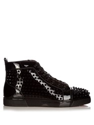Christian Louboutin Louis Spike Embellished Leather High Top Trainers Black