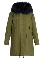 Mr And Mrs Italy Fur Lined Canvas Parka Khaki Multi