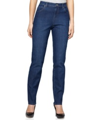 Style And Co. Petite Natural Fit Tummy Control Jeans Aged Indigo Wash