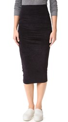 James Perse Skinny Stretch Velvet Skirt Black