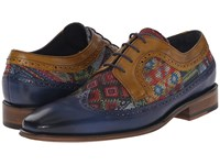 Messico Heriberto Blue Red Textile Yellow Leather Men's Shoes