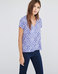 Vila Short Sleeve Ikat Print V Neck Shirt Blue