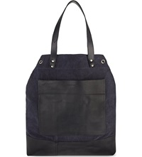 Dries Van Noten Canvas And Leather Shopper Navy