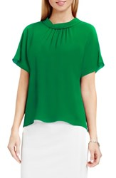 Vince Camuto Women's Shirred Mock Neck Blouse Green Pulse