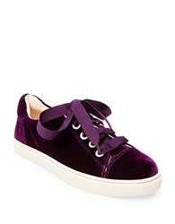 Betsey Johnson Lacy Velvet Lace Up Sneakers Burgundy