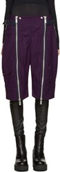 Sacai Purple Double Zip Shorts