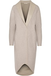 Victor Alfaro Leather Trimmed Wool Blend Coat White