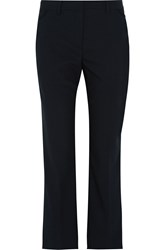 Helmut Lang Stretch Wool Gabardine Straight Leg Pants Blue