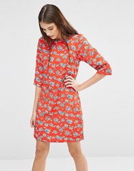 Trollied Dolly Gift Of A Shift Floral Print Dress Orange