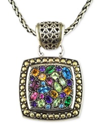 Effy Collection Balissima By Effy Multistone Square Pendant In Sterling Silver And 18K Gold