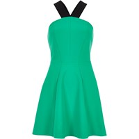 River Island Womens Green Jersey Halter Neck Skater Dress