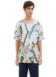 Gucci Oversized Printed Linen T Shirt Blue