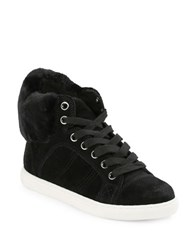 Splendid Sandra Faux Fur Trimmed Suede Sneakers Black