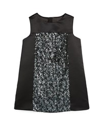 Milly Minis Sleeveless Sequin Shift Dress Black Size 8 14 Girl's Size 8