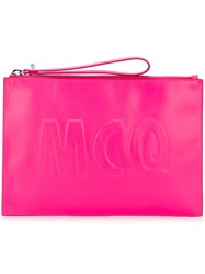 Mcq By Alexander Mcqueen Oversized Logo Clutch Pink And Purple