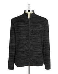 Strellson Striped Zip Front Sweater Charcoal