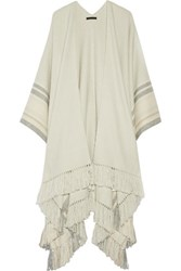 The Row Kleya Striped Cashmere And Silk Blend Poncho Mint